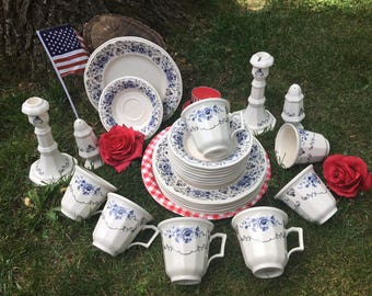 Tea Luncheon Set Clinton Inn Museum Simpson Collection by piece Teacups and Saucers with Plates Salt Pepper Cream Sugar Candlesticks
