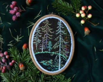 Dark forest swamp embroidery, , embroidery hoop, hoop art, home decor, wall deco