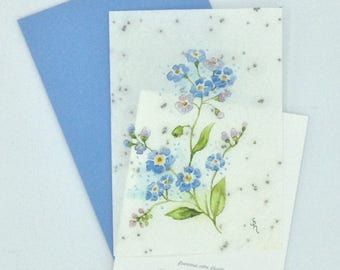 Watercolor forget-me-not seeded paper card