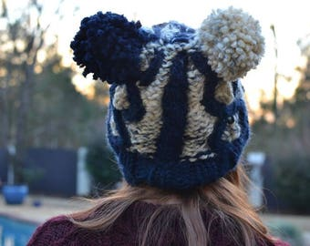 Blue and White Beanie With Two Balls