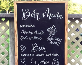 Wedding Sign | Drink Menu | Bar Menu | Chalkboard