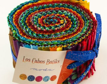 MODA Los Cabos Batiks Jelly Roll, Precut Fabric, Cotton Strips, 40 2.5x44-inch fabric strips, 4335JR