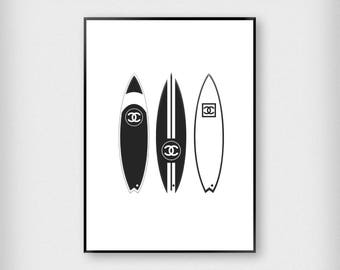 Chanel Surfboards Print | Fashion | Black and White | Designer - Surf - Poster