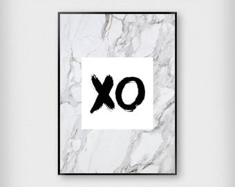 XO Marble Print | Fashion | Black - Grey - Pink | Typography - Beyonce - Poster