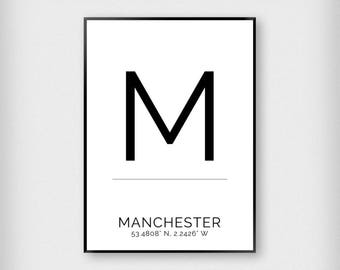 Manchester | City | Black and White | Coordinates - Map - Poster