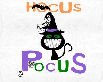 hocus pocus cat witch SVG Clipart Cut Files Silhouette Cameo Svg for Cricut and Vinyl File cutting Digital cuts file DXF Png Pdf Eps