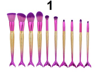10Pcs Mermaid Fish Scale Makeup (10 Shapes) Fishtail Bottom Powder Blusher Cosmetic Brush