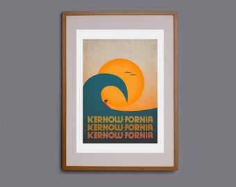Surf art, picture of surfer, Kernow, Kernowfornia, surf poster, surf decor, surf illustration, Cornwall, surfer, giclee print