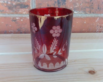 Red Ruby Cranberry Etched Glass with Flower Pattern, Vintage Glass