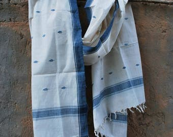 Handwoven Jamdani Khadi  Stole made with Natural dyes