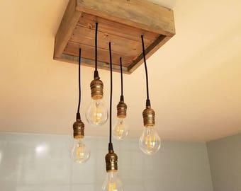 Rustic Pendant Light Box Chandelier & Rustic pendant light | Etsy azcodes.com