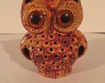 Vintage 1970s Ceramic Owl Incense Burner