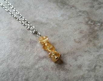 Citrine chips, vertical, bar necklace, yellow, citrine
