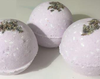 3 Bath Bombs Lavender Organic Oil – Natural Ingredients - Relaxing Epsom Salt, Himalayan & Dead Sea Salt, Essential Oil, Apricot Kernel Oil