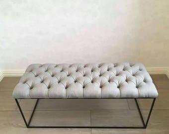 Tufted metal frame bench, Upholstered bench, Entryway bench, Bedroom bench, Dressingroom bench,
