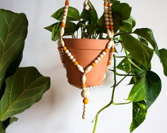 Modern Orange Wood Bead Plant Hanger (X-Large)