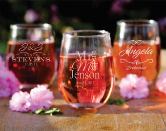 1 Personalized Stemless Wine Glass - Bridal Shower - Wedding Party - Bridesmaid - Groomsman - Engraved Gifts - Custom Glassware -  Gifts
