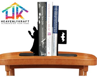 Batman Bookend, book support, Metal Bookend, Metal Art, Gift for Book Lovers