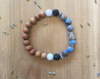 Aromatherapy Bracelet, Essential Oil Diffuser Bracelet, Impression Jasper, Sandalwood Beads, Matte White Agate, Black Lava Beads
