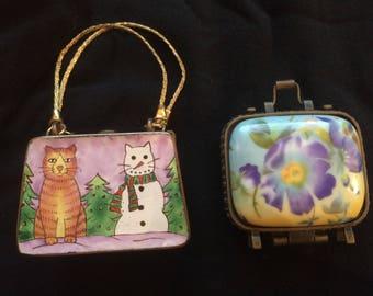 Two Vintage Porcelain Trinket/Pill Boxes in the Shape of a Handbag - 1980