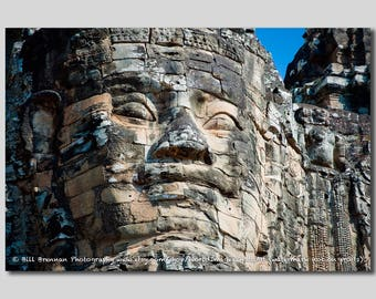 Stone Face Art Print Photograph Wall Decor Cambodia Bayon Mythology Asia Angkor Wat Temple Hindu History Empire Archaeology Anthropology
