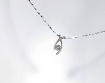 Zircon Fish Necklace in Solid Sterling 925 Silver (SN015)
