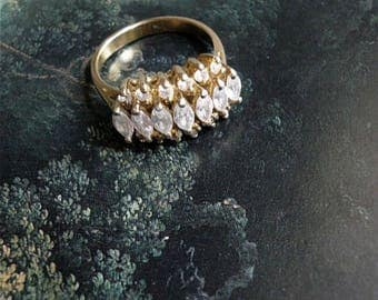1960s VERMEIL Gold Plated Sterling Silver Zirconia Ring - Size US 5