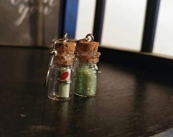 Green Glitter Message in a Bottle
