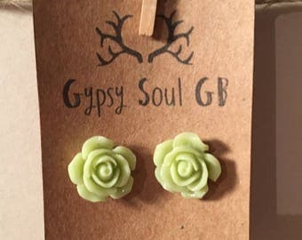 Flower earrings, rose earrings, green earrings, green flower, christmas present, stocking filler, gift for girls,
