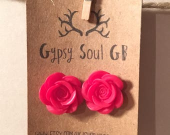 Flower earrings, rose earrings, red earrings, red flower, christmas present, stocking filler, gift for girls,