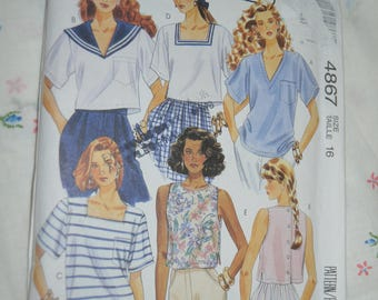 McCalls 4867 Misses Top Sewing Pattern - UNCUT - Size 16