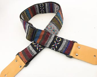 "NuovoDesign ""XO"" bohemian style fabric guitar strap with leather ends. Free tie lace & end pin"