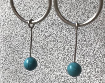 Sterling Silver hoops with turquoise bead droppers