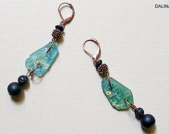 Earrings, earrings, pendant earrings, earrings, recycled jewelry, glass beads, agate, lava, copper, mint green, black, unique, gift