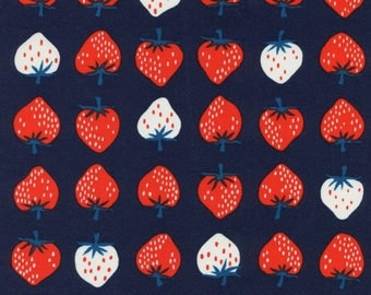 Kimberly Kight Yours Truly - Strawberry Red - Cotton and Steel Fabric - Unbleached Quilting Cotton - White Strawberry Navy - Japanese Fabric