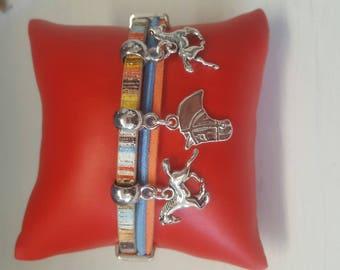multistrands bracelet blue orange silver
