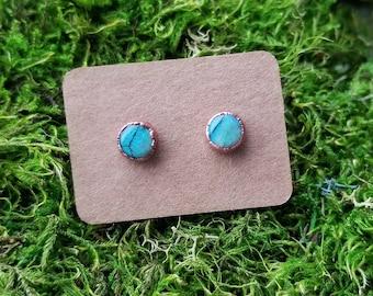 Copper Electroformed Monarch Opal Earrings | Monarch Opal Earrings | Copper Stud Earrings | Post Earrings | Opal Gemstones