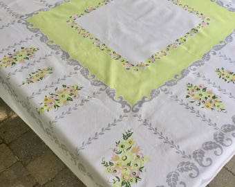 Vintage Retro White Pink Green Gray Floral Tablecloth   1950s Retro Tablecloth   Floral Tablecloth   Vintage Linen   Luncheon Tablecloth