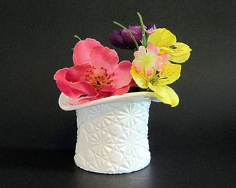 Vintage Milk Glass Top Hat Daisy Button Indiana Glass Bud Vase Toothpick | Candle | Pencil Holder