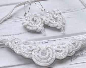 Soutache necklace Wedding necklace Statement necklace Wedding jewelry Bridal necklace Bib necklace Soutache earrings Chandelier earrings