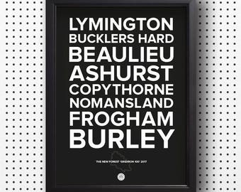 New Forest 'GRIDIRON 100' typographical print - black (unframed)