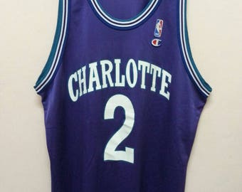Vintage 90's Champion NBA jersey Charlotte/L.Johnson Made in usa Large size