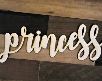 Princess Script Word Wood Sign, Wood Sign Art, princess Wood Sign, Laser Cut Wood Sign, Cursive Wood, princess word cut out, Wood Cut Out
