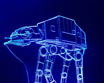 Star Wars Inspired AT-AT Desktop Lamp / Night Light with Color Changing Base