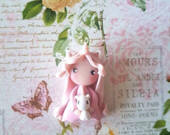 Collier poupée licorne rose pastel