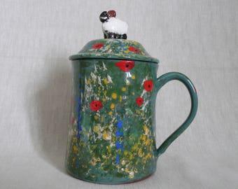 Handmade, ceramic, pottery lidded sheep mug. Gift for farmer