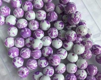 glass beads beads beads for jewelry making purple beads pink beads
