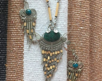 Vintage Silver, Porcupine Quill Necklace and Earring Set Made and Found in India in 95'