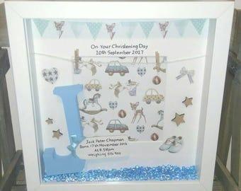 Boys Christening Gift, Christening Frame, Little Boy Gift, Letter Frame, On Your Christening, Birthday Frame, Boys Birthday, Baby Boy Gift