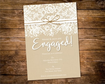 Rustic Engagement Party Invitation Printable - Engagement Invitations - Design ID: 33-38A